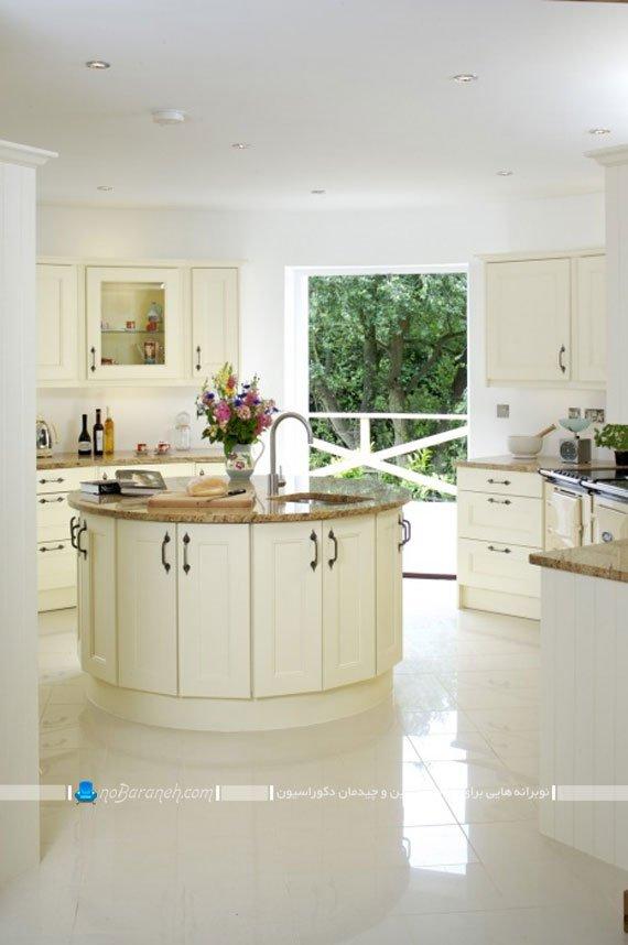 میز جزیره آشپزخانه با طرح گرد و دایره شکل