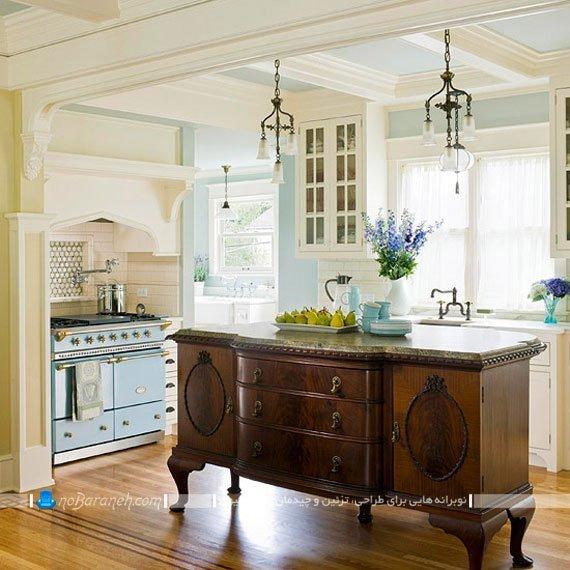 میز جزیره آشپزخانه به شکل کنسول