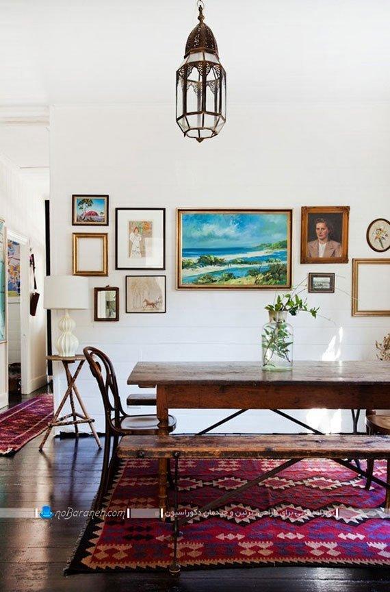 میز ناهارخوری ارزان چوبی و نیمکتی کلاسیک کلاسیک
