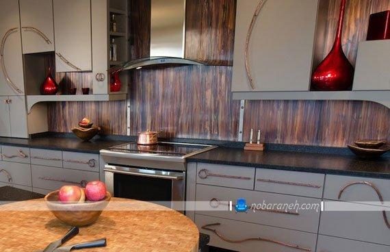 دیوارپوش پی وی سی طرح چوب برای آشپزخانه، مدل های جدید دیوارپوش آشپزخانه با طرح چوبی