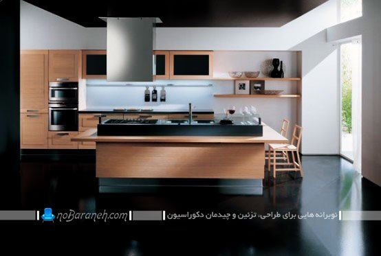 مدل جدید کابینت سیاه و طرح چوب