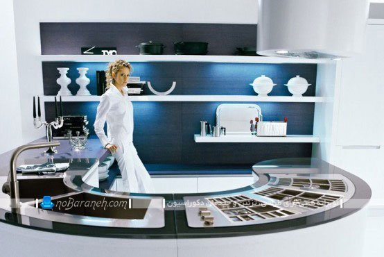 زیباترین مدل اپن آشپزخانه با طرح گرد و نیم دایره