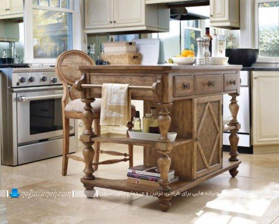 میز جزیره چوبی آشپزخانه
