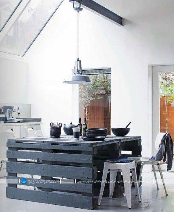 میز جزیره آشپزخانه با جنس تخته ای