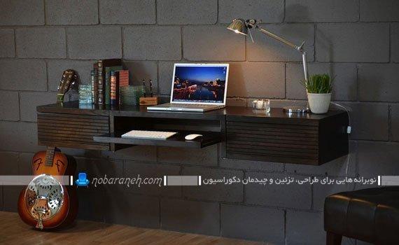 میز تحریر دیواری و مدرن کمجا با جنس چوبی