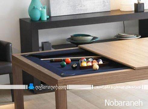 میز ناهارخوری چوبی با قابلیت تبدیل به میز بیلیارد