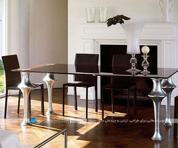 میز نهارخوری فانتزی و شیشه ای / عکس