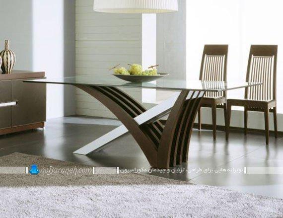 میز نهارخوری با پایه چوبی مدرن / عکس