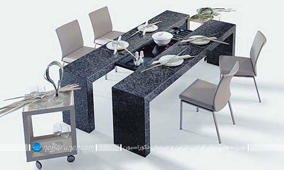 میز نهارخوری مدرن با صندلی های کلاسیک / عکس