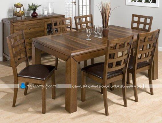 میز ناهارخوری شیک چوبی 6 شش نفره / عکس