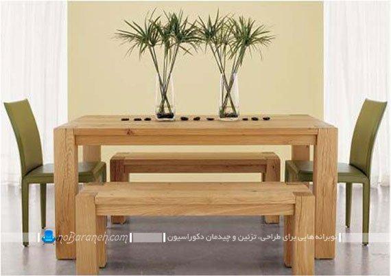میز نهارخوری با نیمکت های چوبی / عکس