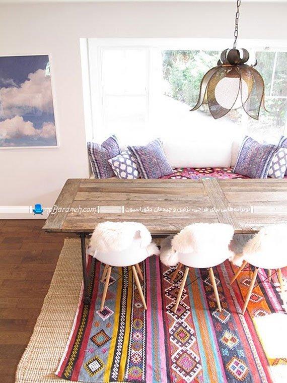 میز ناهارخوری چوبی با صندلی و نیمکت