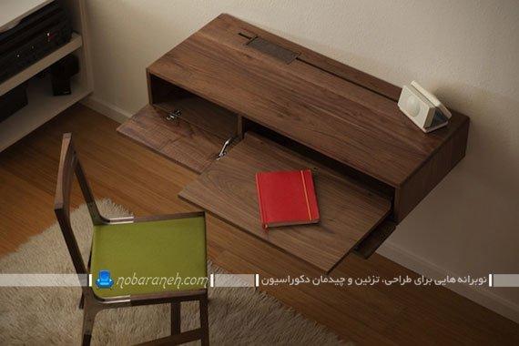 میز تحریر و لپ تاپ کوچک و ظریف دیواری، مدل های جدید میز تحریر و کامپیوتر برای اتاق های کوچک