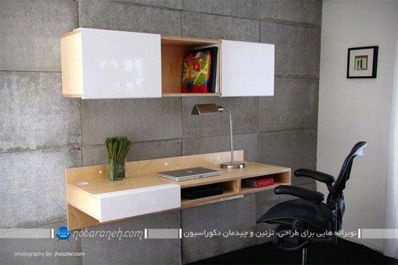 میز و کتابخانه دیواری کمجا برای اتاق های کوچک، مدل های جدید و شیک میز کامپیوتر mdf ام دی اف