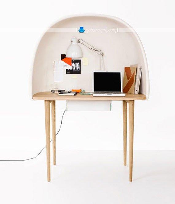 میز کامپیوتر با پوشش و اتاقک مخصوص حفظ حریم شخصی / عکس