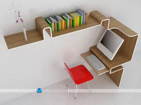 مدل میز کامپیوتر با کتابخانه فانتزی کمجا