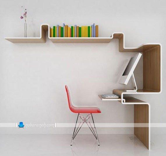 میز یک تکه ویترینی با رویه طرح چوب / عکس
