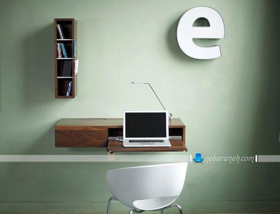 میز لپ تاپ چوبی و دیواری با شلف چهار کشو / عکس