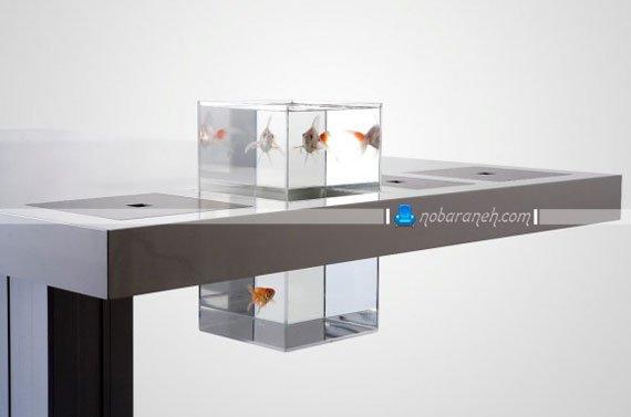 میز تحریر مدرن با فضای مخصوص قرار دادنتنگ ماهی / عکس