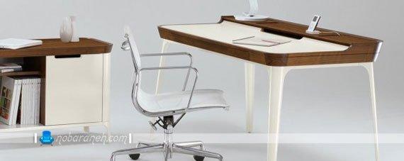 میز تحریر فانتزی با رنگ سفید و فریم طرح چوب / عکس