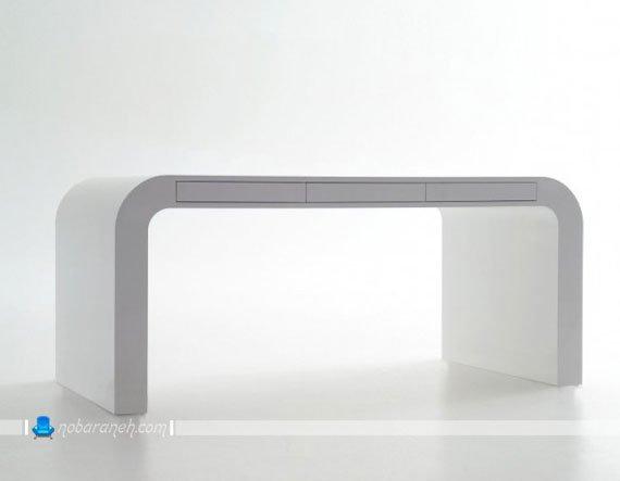 میز یک تکه و ساده با رویه هایگلاس سفید رنگ / عکس