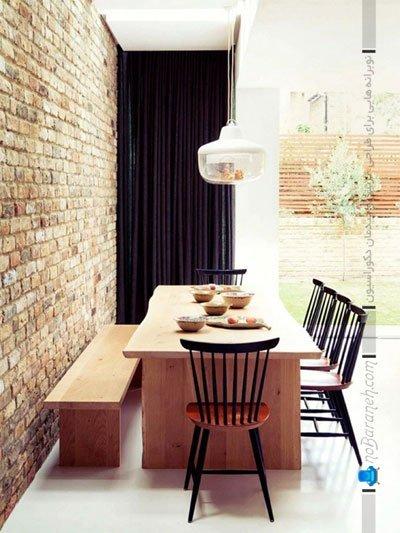 تزیین دیوار داخلی اتاق ناهارخوری با سنگ تزیینی آنتیک و آجری شکل / عکس