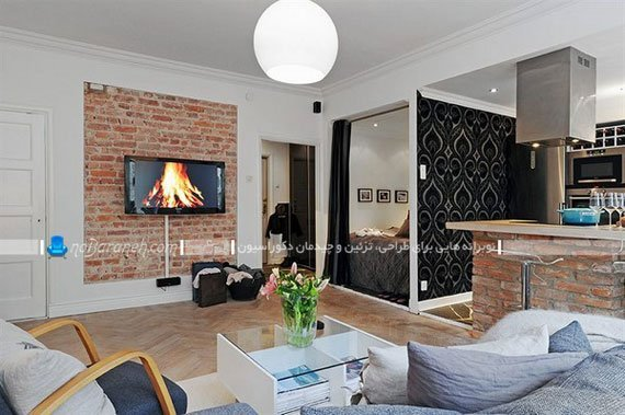 تزیین فضای اطراف و دیوار پشت تلویزیون دیواری / عکس