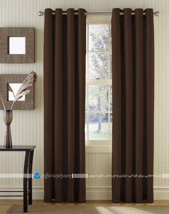 پرده ساده اتاق نشیمن و پذیرایی با رنگ قهوه ای