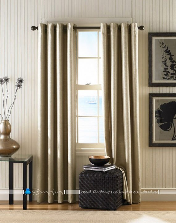 عکس مدل پرده جدید پذیرایی و اتاق نشیمن با رنگ بژ براق
