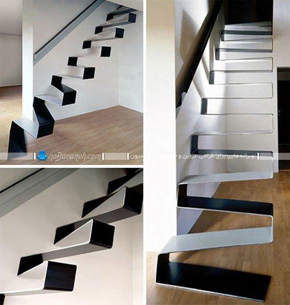 مدل پله دوبلکس فانتزی بدون محافظ و نرده. طرح جدید پله دوبلکس منزل دو طبقه.