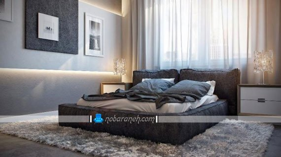 تخت خواب دو نفره با نمای تمام پارچه، طراحی دکوراسیون اتاق خواب با رنگ خاکستری