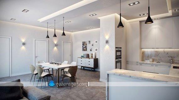 نورپردازی میز اپن آشپزخانه با چراغ آویز، مدل چیدمان مبلمان در خانه دو خوابه