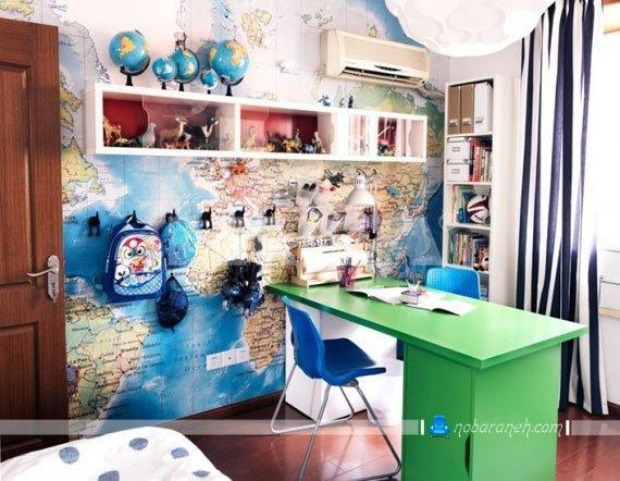 تزیین دیوار اتاق خواب کودکان و نوجوانان با نقشه جغرافیا / عکس