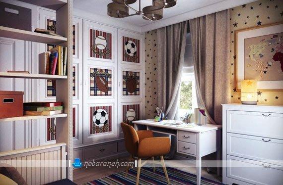 طراحی دکوراسیون اتاق نوجوان به شکل پسرانه و مدرن