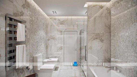 مدل کاشی مرمری و طرح دار برای حمام، طراحی دکوراسیون داخلی حمام های مدرن و زیبا