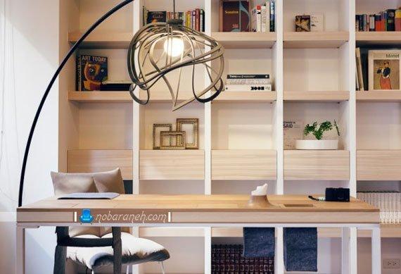 عکس و مدل کتابخانه چوبی زیبا و مدرن / عکس