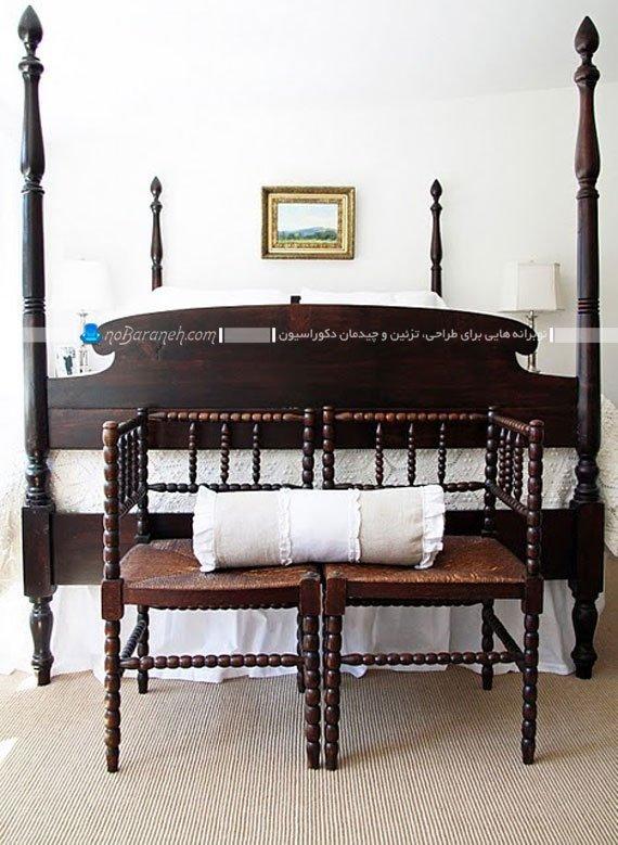 چیدمان مبلمان در فضای خالی اطراف تخت خواب
