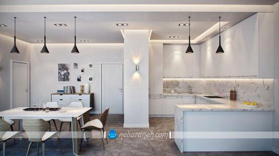 هماهنگ کردن طرح کانترتاپ و کاشی های دیواری، آشپزخانه مدرن و زیبا با طراحی دکوراسیون سفید رنگ، نورپردازی کابینت و دکوراسیون آشپزخانه
