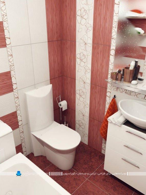 کاشی دیواری طرح دار با رنگ زرشکی برای حمام و روشویی
