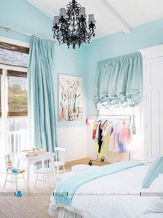 رنگ آمیزی اتاق عروس با رنگ آبی و سفید