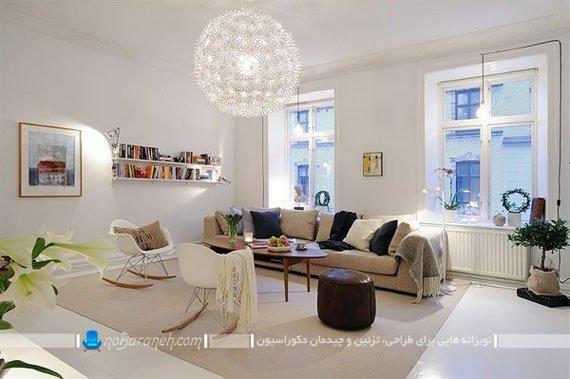 چیدمان مبلمان راحتی و صندلی های فانتزی در اتاق نشیمن / عکس