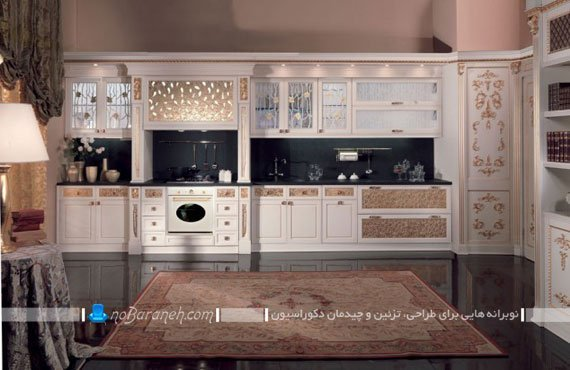 دکوراسیون آشپزخانه سلطنتی با کابینت های سفید رنگ