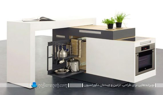 مدل کابینت متحرک مدرن برای منازل کوچک