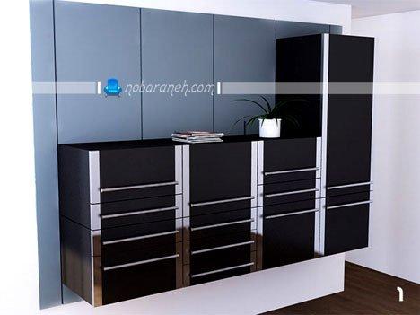 کابینت آشپزخانه با طراحی جدید و کمدهای ریلی متحرک / عکس