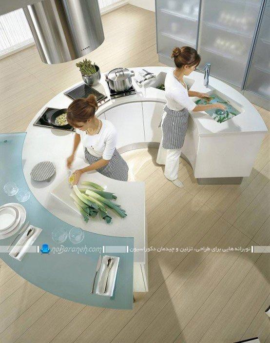 مدل اپن گرد و نیم دایره آشپزخانه