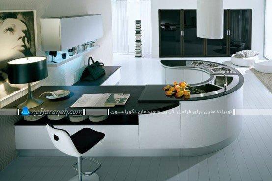 طرح جدید میز اپن آشپزخانه