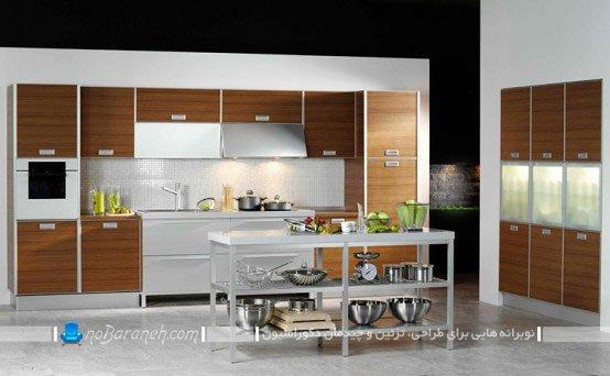 کابینت ام دی اف آشپزخانه اپن با طراحی شیک