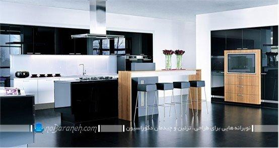 دیزاین آشپزخانه با کابینت مشکی های گلاس