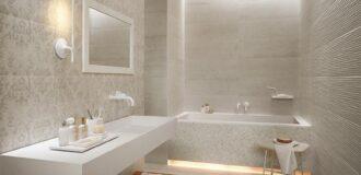 کاشی حمام طرح دار و ساده به رنگ کرم