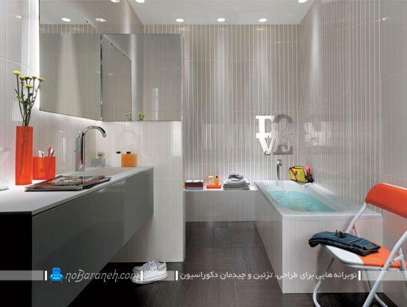 تزیین دیوارهای حمام و سرویس بهداشتی با کاشی های سفید و طوسی / عکس